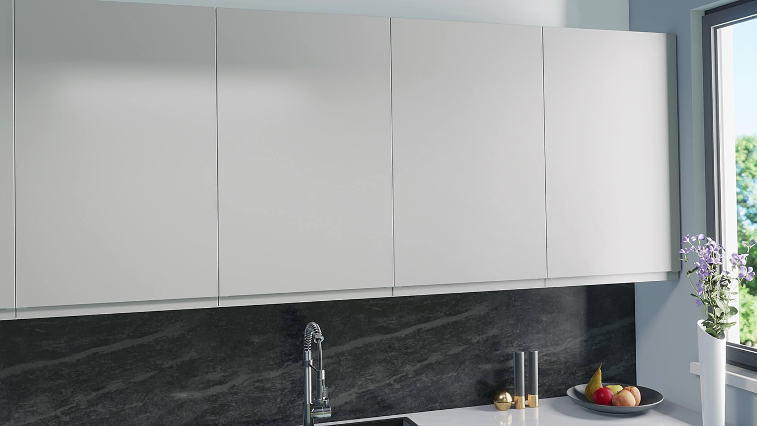Handtagslösa köksluckor till IKEA Faktum U12 Ljusgrå